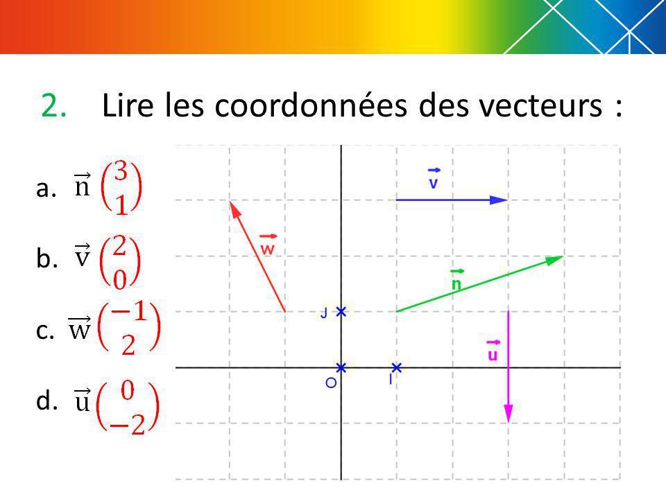 2.Lire les coordonnées des vecteurs : a. b. c. d.
