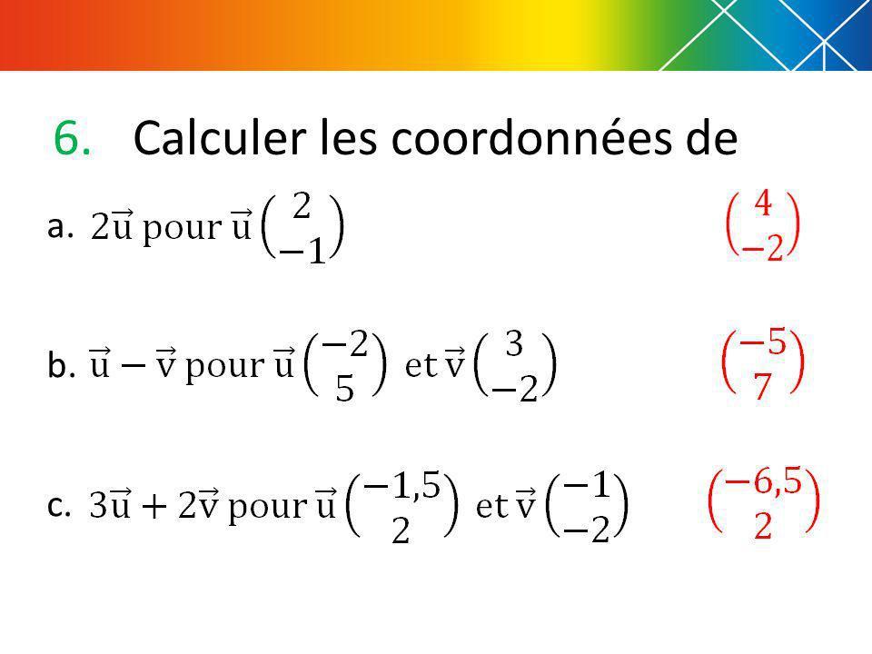 6.Calculer les coordonnées de a. b. c.
