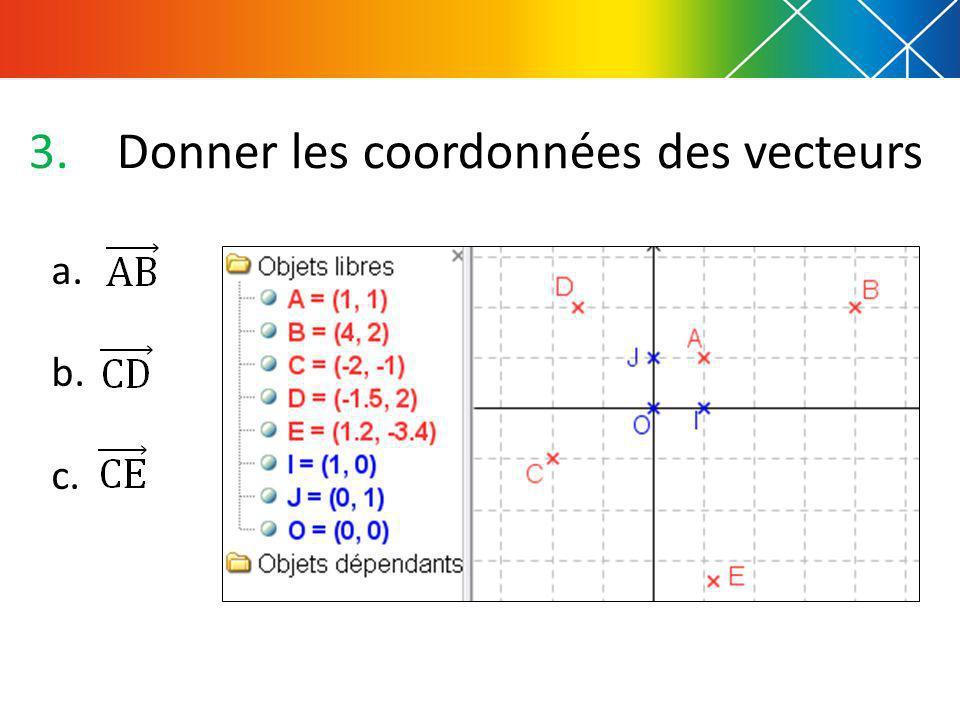 3.Donner les coordonnées des vecteurs a. b. c.