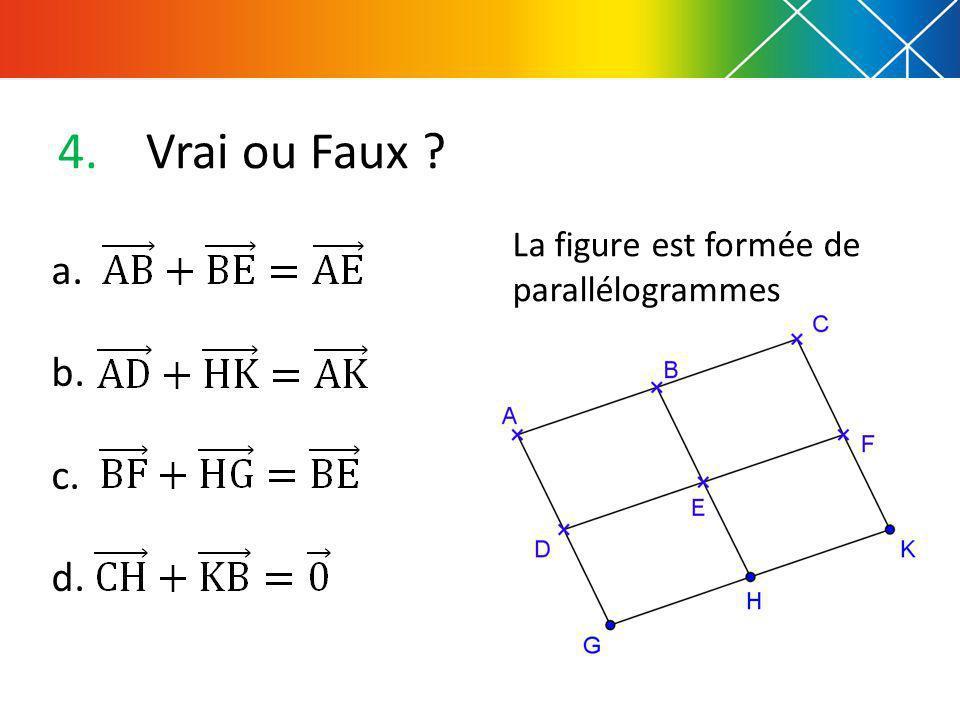 4.Vrai ou Faux ? La figure est formée de parallélogrammes a. b. c. d.