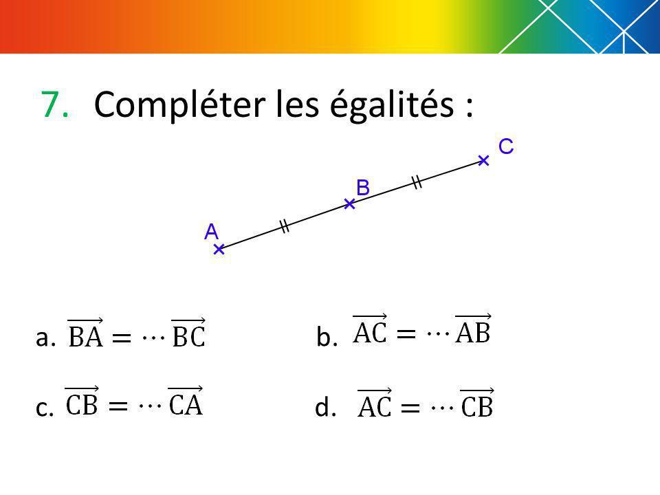 7.Compléter les égalités : a. b. c. d.