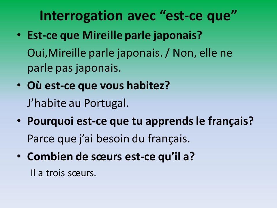 Interrogation avec est-ce que Est-ce que Mireille parle japonais? Oui,Mireille parle japonais. / Non, elle ne parle pas japonais. Où est-ce que vous h