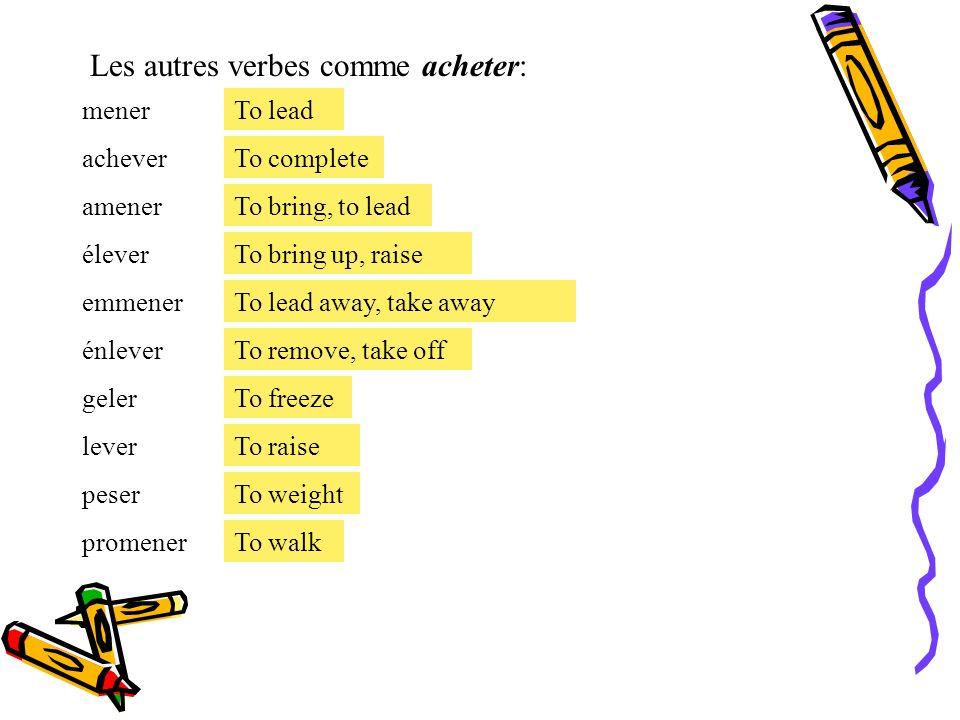 Le présent des verbes irréguliers. Les verbes irréguliers avec des changes orthographique: -E a È [When you hav a mute or silent « e » next to the syl