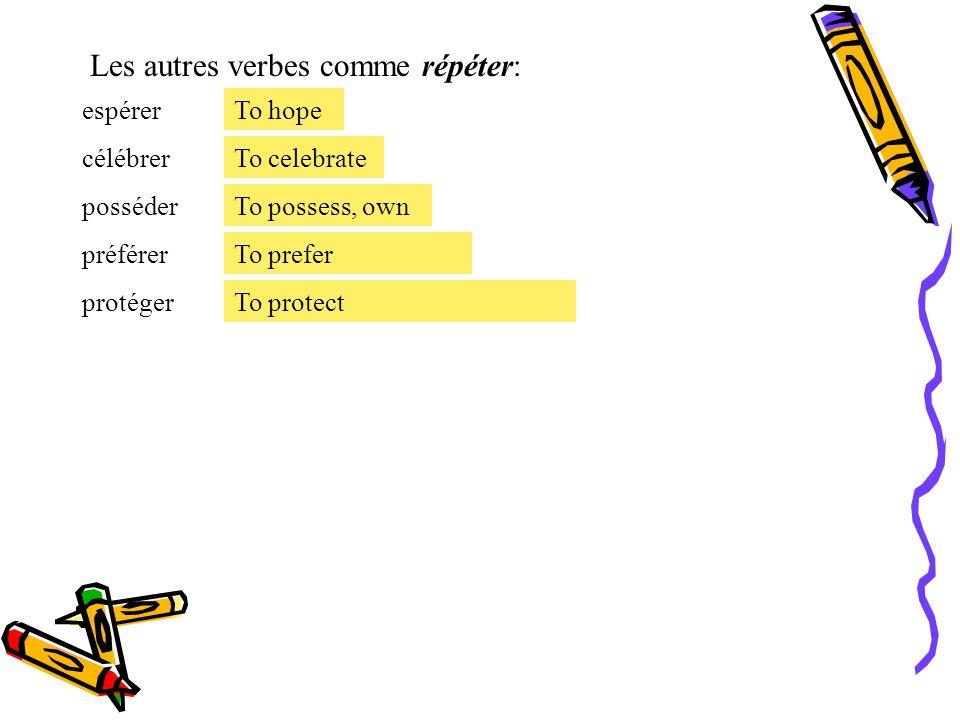 Le présent des verbes irréguliers. Les verbes irréguliers avec des changes orthographique: -É a È [When you have a mute or silent - er ending. répéter