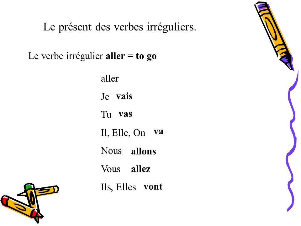 Le présent des verbes irréguliers. Les verbes avec -ÉER ne change pas l accent. créer Je Tu Il, Elle, On Nous Vous Ils, Elles crée crées crée créons c