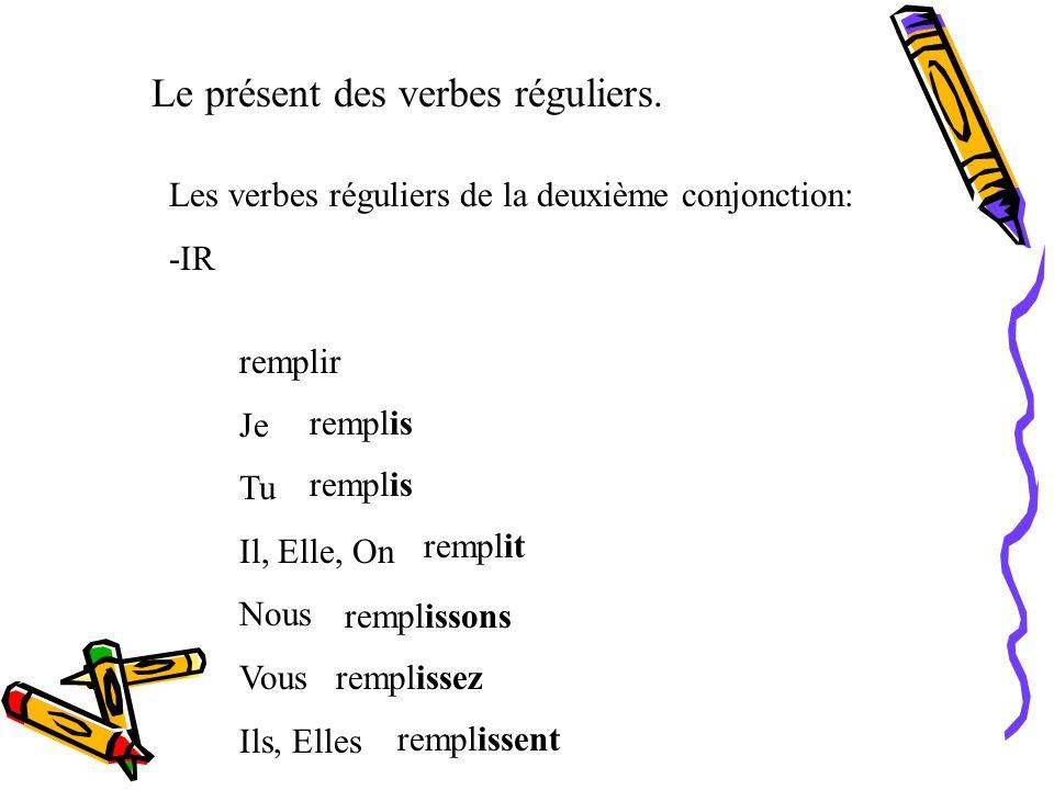 Le présent des verbes réguliers. Les verbes réguliers de la première conjonction: -ER Goûter Je Tu Il, Elle, On Nous Vous Ils, Elles goûte goûtes goût