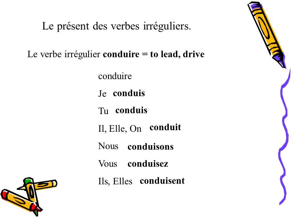 Le présent des verbes irréguliers. Le verbe irrégulier battre = to beat battre Je Tu Il, Elle, On Nous Vous Ils, Elles bats bat battons battez battent