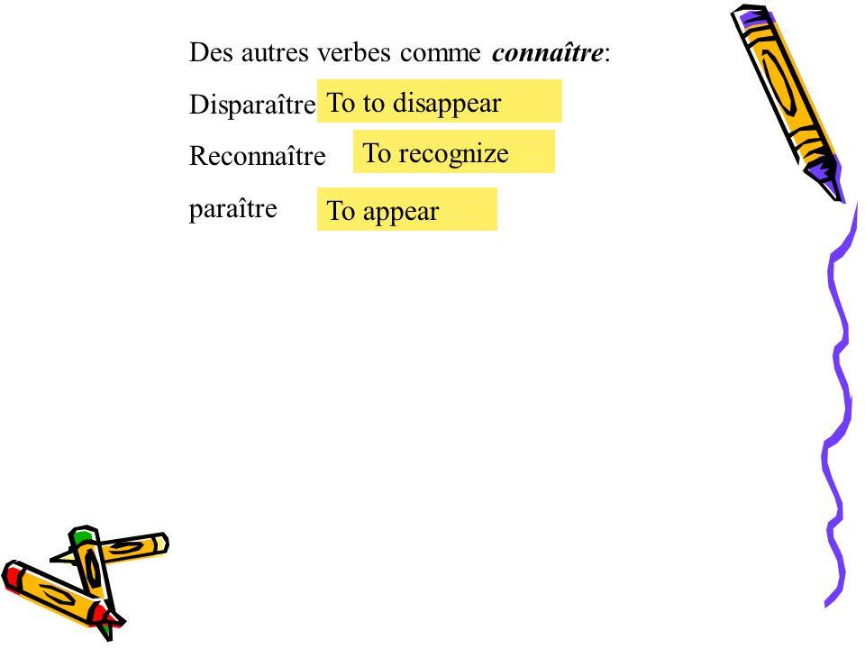 Le présent des verbes irréguliers. Le verbe irrégulier connaître = to know, be acquainted with conduire Je Tu Il, Elle, On Nous Vous Ils, Elles connai