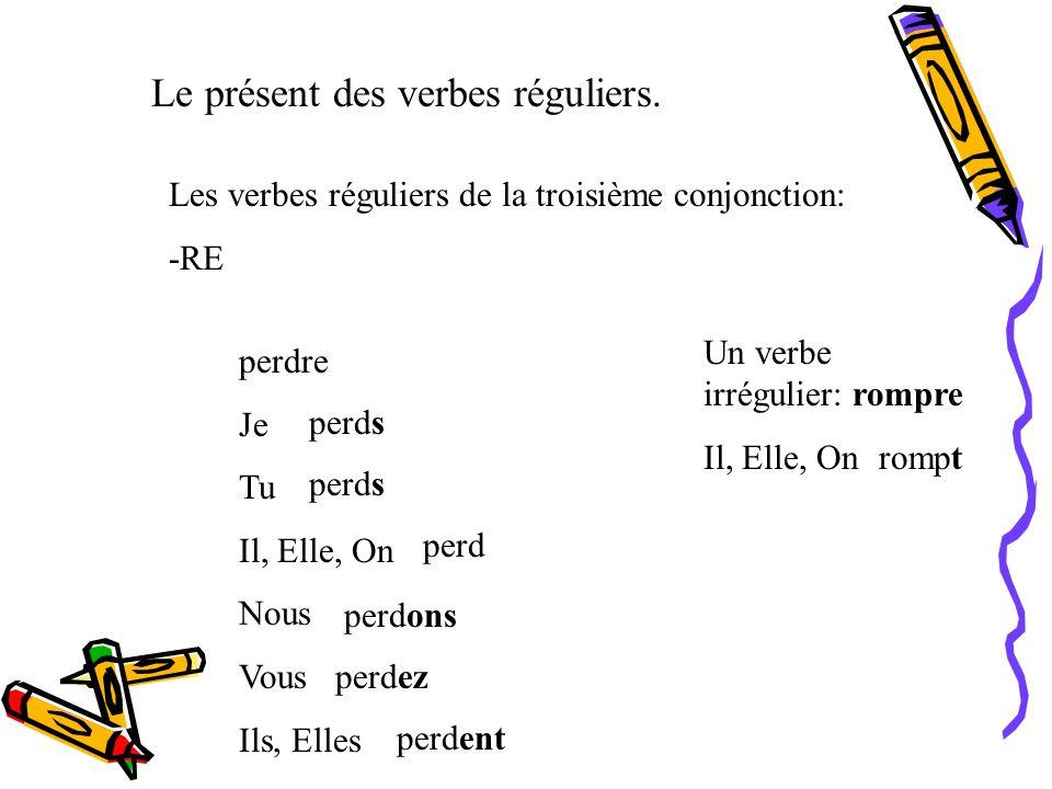 Le présent des verbes réguliers. Les verbes réguliers de la deuxième conjonction: -IR remplir Je Tu Il, Elle, On Nous Vous Ils, Elles remplis remplit