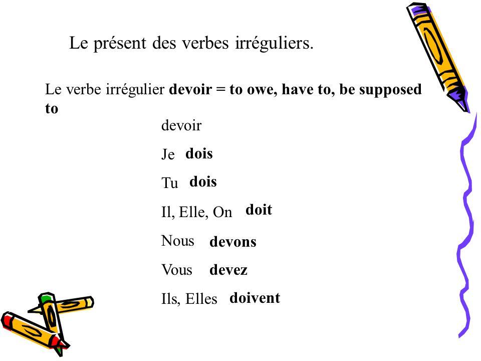 Le présent des verbes irréguliers. Le verbe irrégulier croire = to to believe croire Je Tu Il, Elle, On Nous Vous Ils, Elles crois croit croyons croye