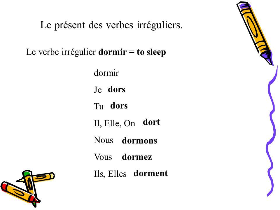 Le présent des verbes irréguliers. Le verbe irrégulier dire = to say, tell dire Je Tu Il, Elle, On Nous Vous Ils, Elles dis dit disons dites disent