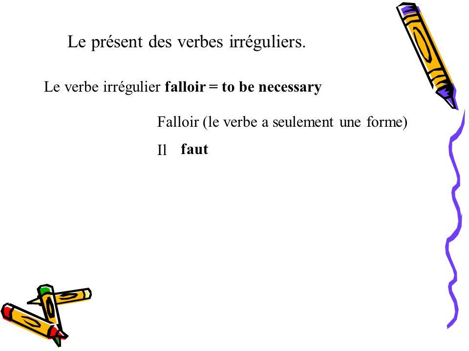 Le présent des verbes irréguliers. Le verbe irrégulier faire = to do, make faire Je Tu Il, Elle, On Nous Vous Ils, Elles fais fait faisons faites font