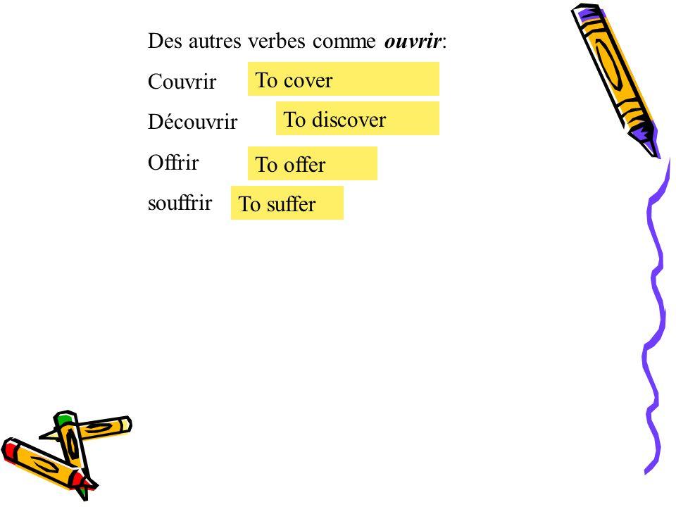 Le présent des verbes irréguliers. Le verbe irrégulier ouvrir = to open mourir Je Tu Il, Elle, On Nous Vous Ils, Elles ouvre ouvres ouvre ouvrons ouvr
