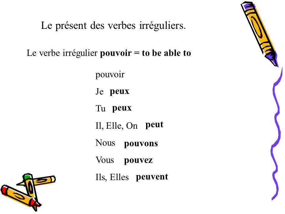 Le présent des verbes irréguliers. Le verbe irrégulier pleuvoir = to rain pleuvoir Il pleut Souviens que ce verbe emploie suelement dans la forme de i