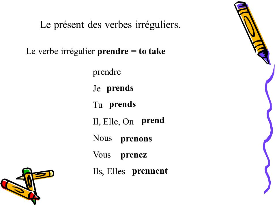 Le présent des verbes irréguliers. Le verbe irrégulier pouvoir = to be able to pouvoir Je Tu Il, Elle, On Nous Vous Ils, Elles peux peut pouvons pouve