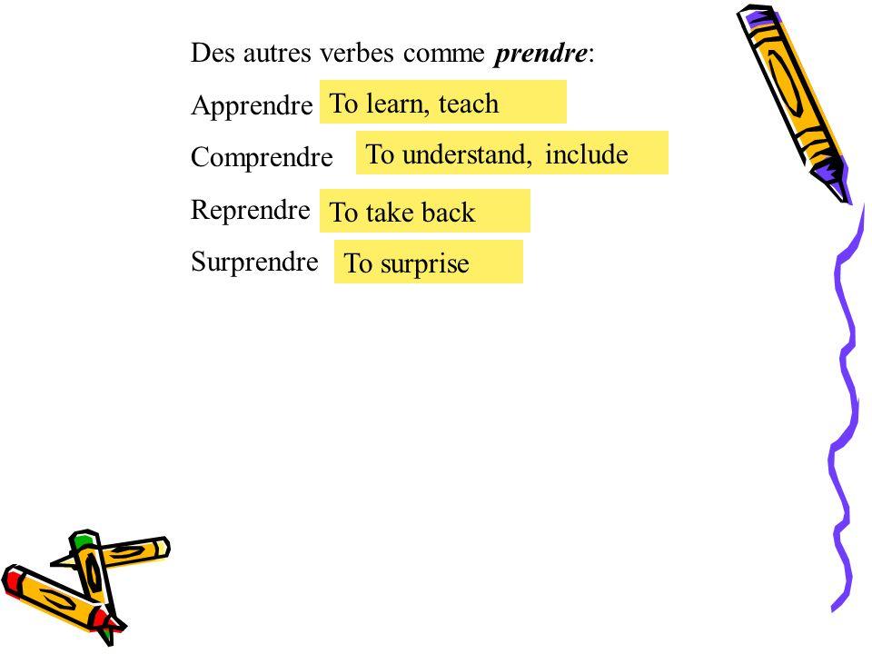 Le présent des verbes irréguliers. Le verbe irrégulier prendre = to take prendre Je Tu Il, Elle, On Nous Vous Ils, Elles prends prend prenons prenez p