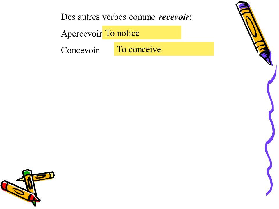Le présent des verbes irréguliers. Le verbe irrégulier recevoir = to receive recevoir Je Tu Il, Elle, On Nous Vous Ils, Elles reçois reçoit recevons r