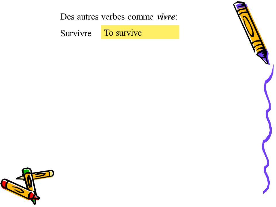 Le présent des verbes irréguliers. Le verbe irrégulier vivre = to live vivre Je Tu Il, Elle, On Nous Vous Ils, Elles vis vit vivons vivez vivent