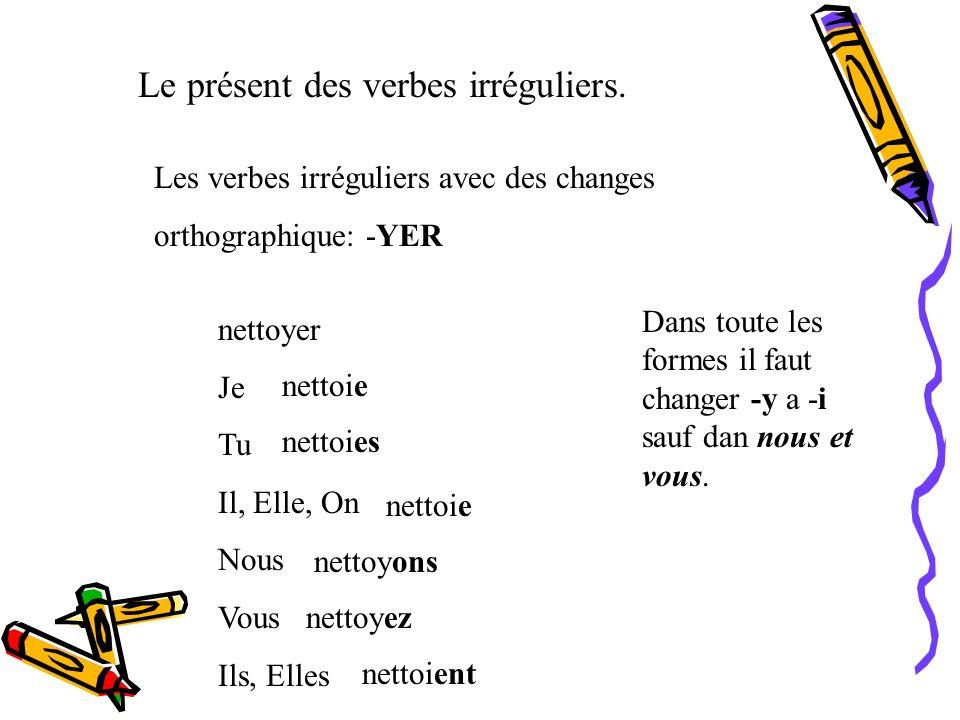 Les autres verbes comme manger: Voyager Arranger Changer Corriger Déménager Déranger Diriger Nager Obliger Partager Plonger Songer (à) To travel To ar