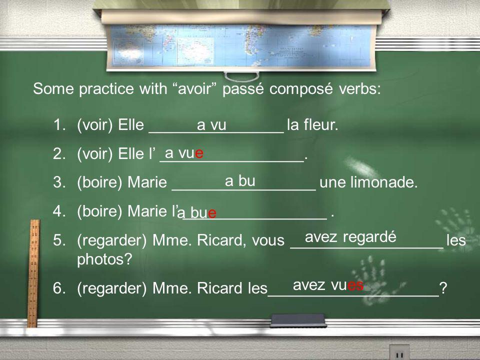 Some practice with avoir passé composé verbs: 1.(voir) Elle _______________ la fleur.