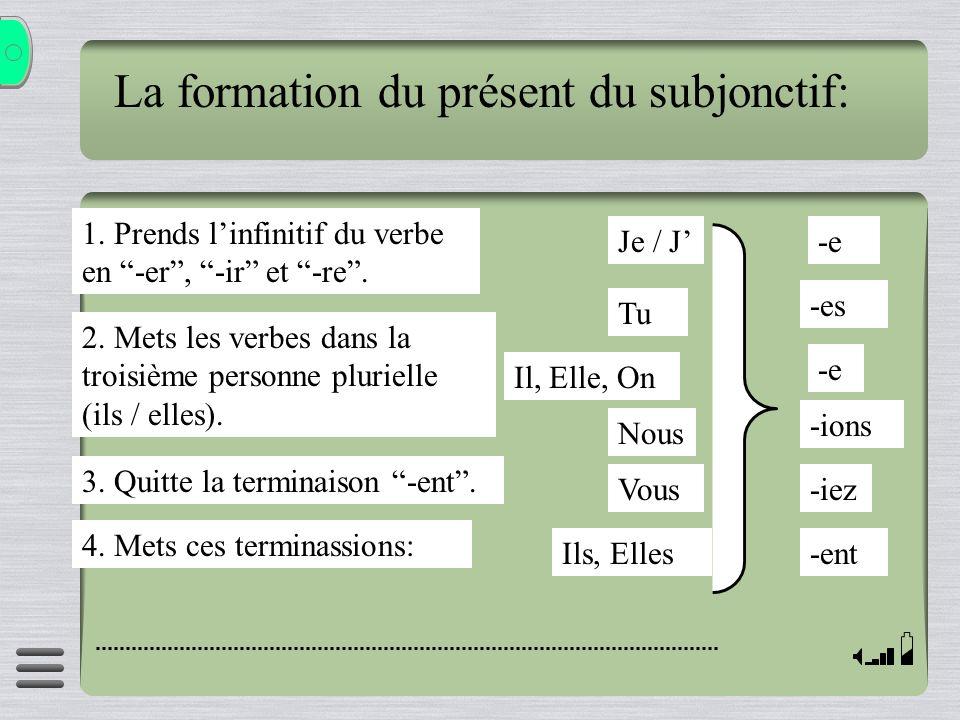 La formation du présent du subjonctif: 1. Prends linfinitif du verbe en -er, -ir et -re. 2. Mets les verbes dans la troisième personne plurielle (ils