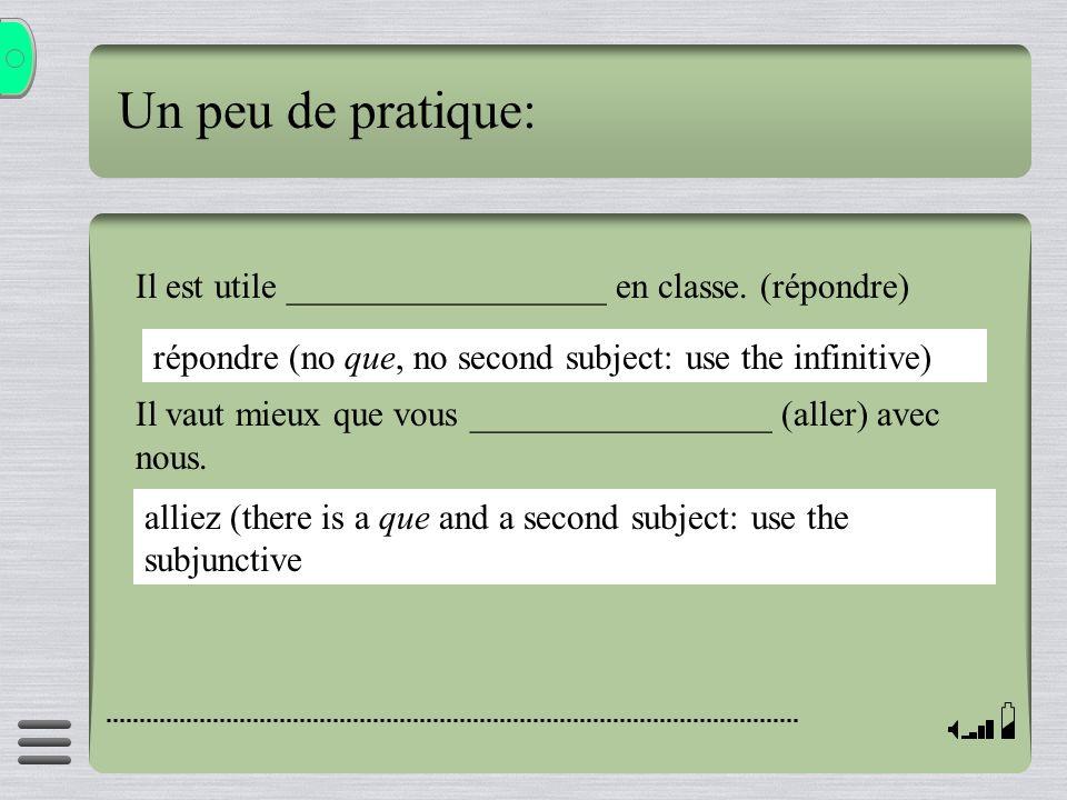 Il est utile __________________ en classe. (répondre) Il vaut mieux que vous _________________ (aller) avec nous. Un peu de pratique: répondre (no que