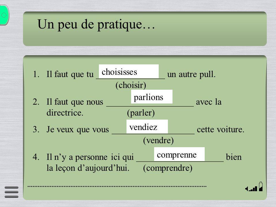 Un peu de pratique… 1.Il faut que tu _______________ un autre pull. (choisir) 2.Il faut que nous ___________________ avec la directrice. (parler) 3.Je