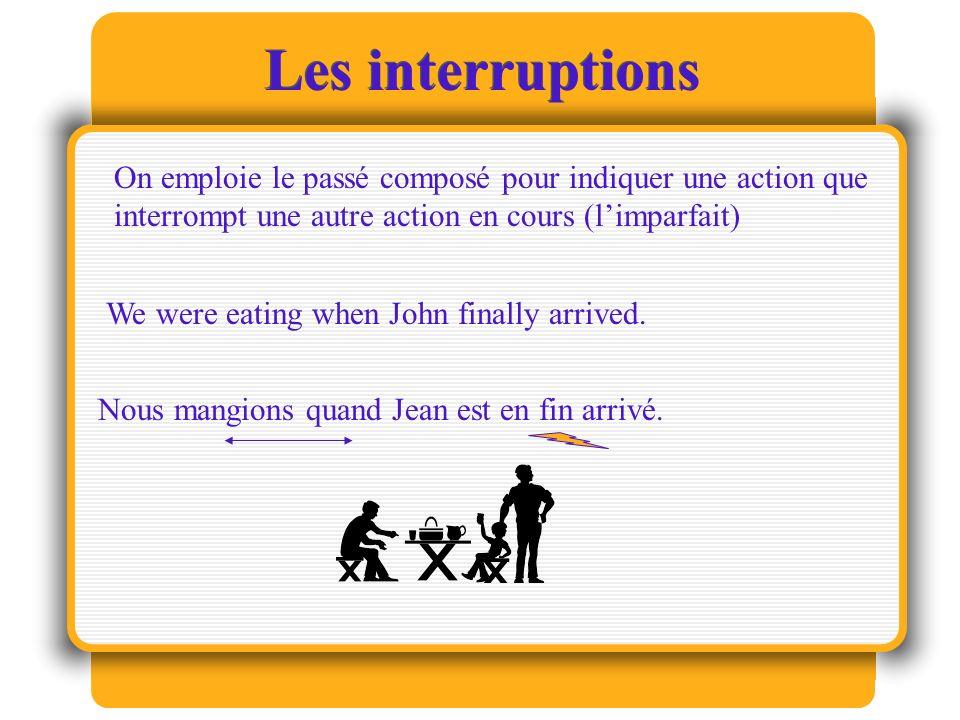 Les interruptions On emploie le passé composé pour indiquer une action que interrompt une autre action en cours (limparfait) We were eating when John finally arrived.