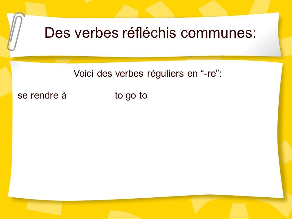 Des verbes réfléchis communes: Voici des verbes réguliers en -re: se rendre àto go to