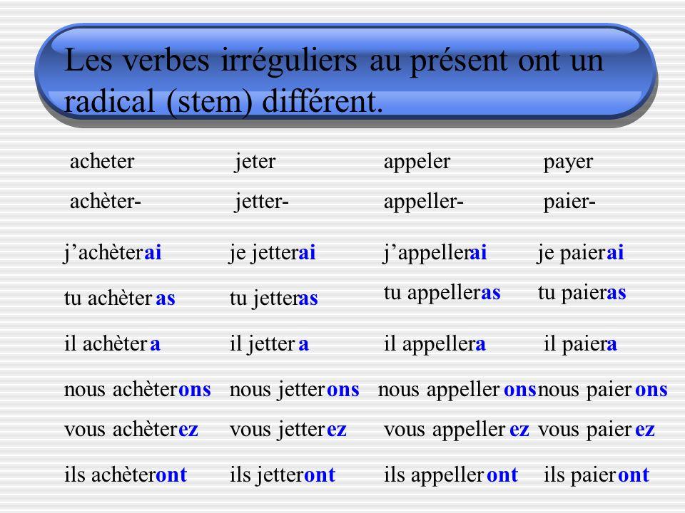 Les verbes irréguliers ont un radical (stem) different. envoyer enverr- jenverr tu enverr il enverr nous enverr vous enverr ils enverr ai as a ons ez