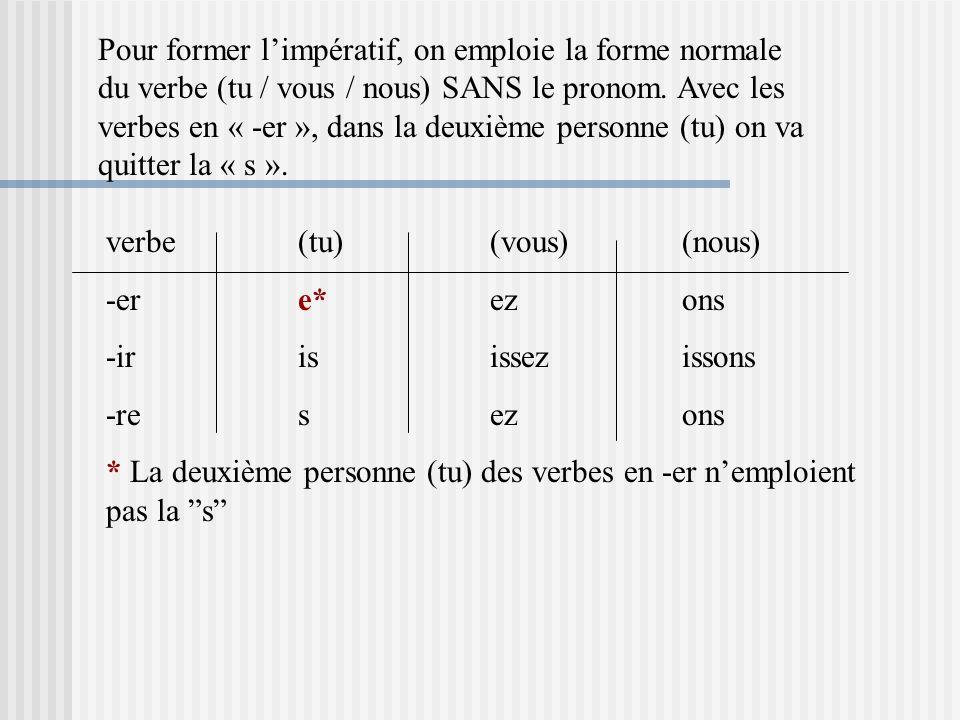Pour former limpératif, on emploie la forme normale du verbe (tu / vous / nous) SANS le pronom. Avec les verbes en « -er », dans la deuxième personne