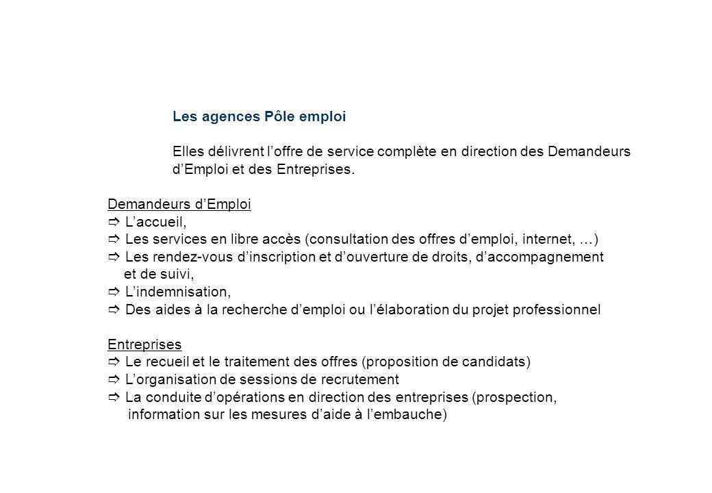 Les agences Pôle emploi Elles délivrent loffre de service complète en direction des Demandeurs dEmploi et des Entreprises. Demandeurs dEmploi Laccueil