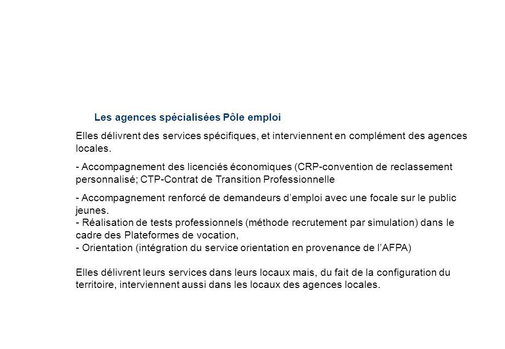 Les agences spécialisées Pôle emploi Elles délivrent des services spécifiques, et interviennent en complément des agences locales. - Accompagnement de
