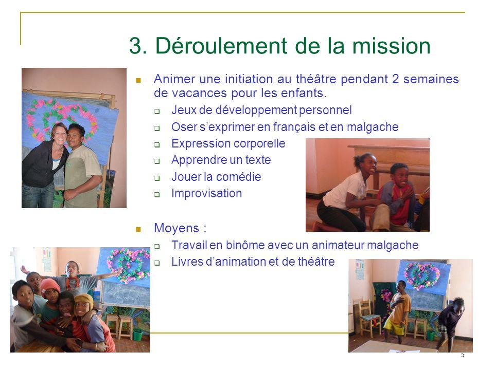 5 3. Déroulement de la mission Animer une initiation au théâtre pendant 2 semaines de vacances pour les enfants. Jeux de développement personnel Oser