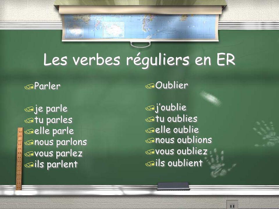 Les verbes réguliers en ER / Parler / je parle / tu parles / elle parle / nous parlons / vous parlez / ils parlent / Parler / je parle / tu parles / elle parle / nous parlons / vous parlez / ils parlent / Oublier / joublie / tu oublies / elle oublie / nous oublions / vous oubliez / ils oublient