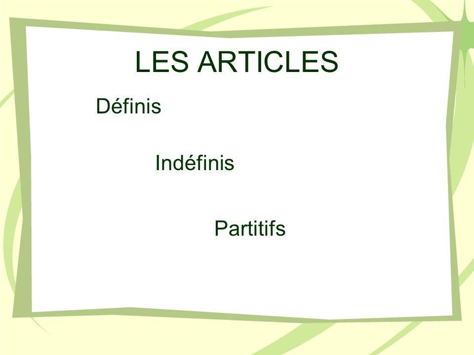 LES ARTICLES Indéfinis Définis Partitifs