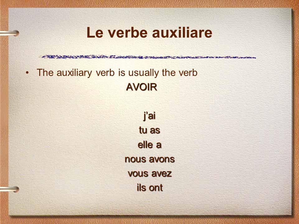 Le verbe auxiliare The auxiliary verb is usually the verb AVOIR jai tu as elle a nous avons vous avez ils ont