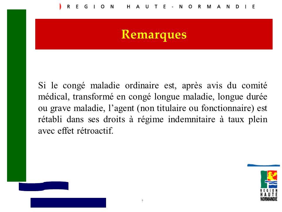 8 Remarques A échéance de 90 jours de maladie ordinaire, le traitement et le régime indemnitaire (hors prime régionale) de lagent passe à mi-traitement (soit à 50%) : textes réglementaires.