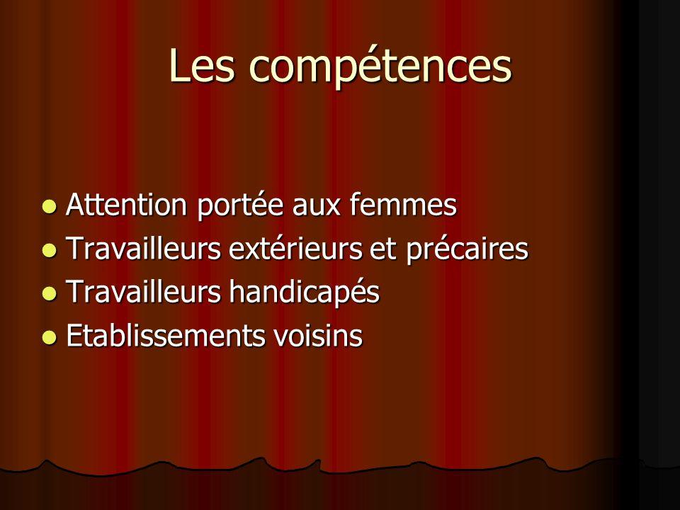 Les compétences Attention portée aux femmes Attention portée aux femmes Travailleurs extérieurs et précaires Travailleurs extérieurs et précaires Trav
