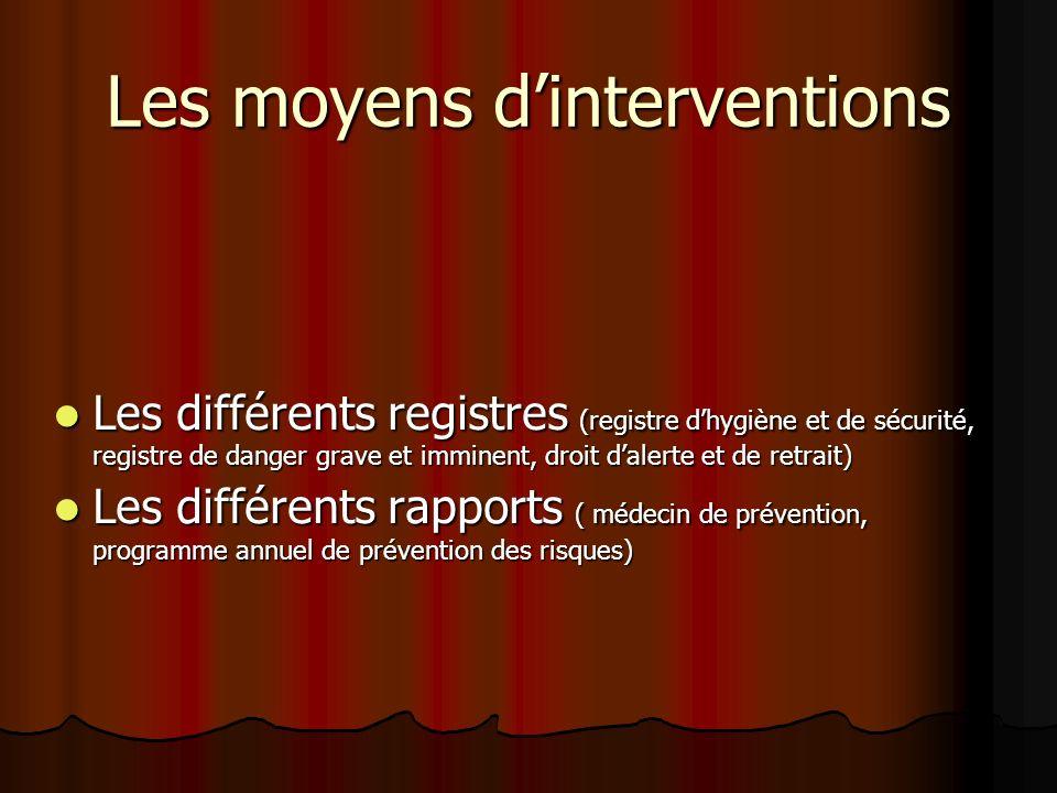 Les moyens dinterventions Les différents registres (registre dhygiène et de sécurité, registre de danger grave et imminent, droit dalerte et de retrai