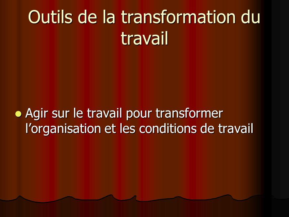 Outils de la transformation du travail Agir sur le travail pour transformer lorganisation et les conditions de travail Agir sur le travail pour transf