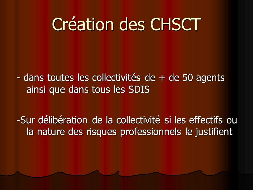 Création des CHSCT - dans toutes les collectivités de + de 50 agents ainsi que dans tous les SDIS -Sur délibération de la collectivité si les effectif