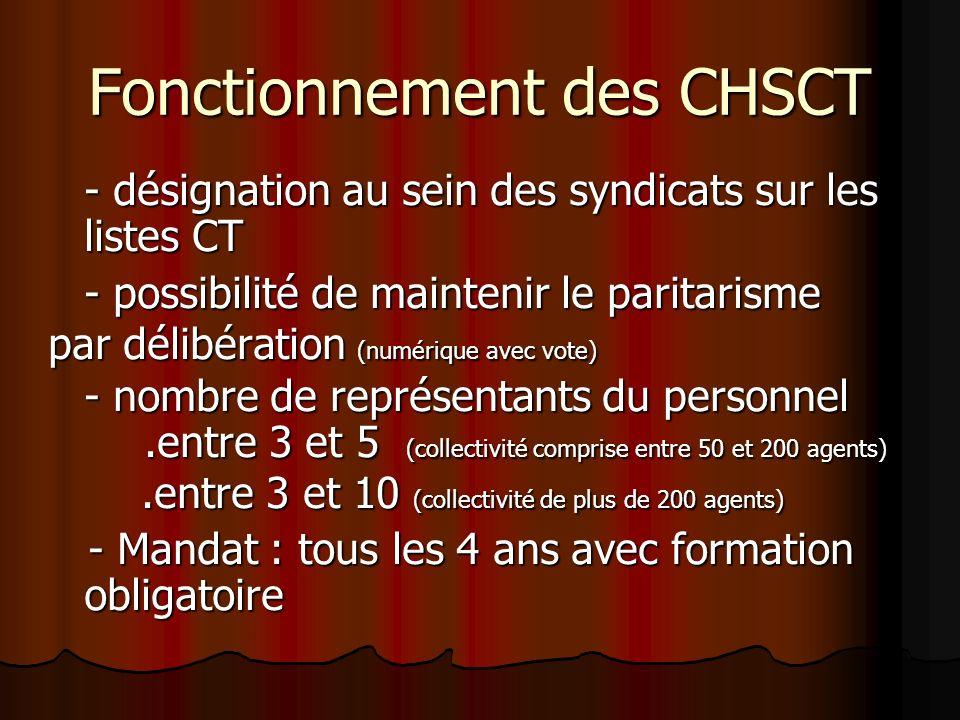 Fonctionnement des CHSCT - désignation au sein des syndicats sur les listes CT - possibilité de maintenir le paritarisme par délibération (numérique a