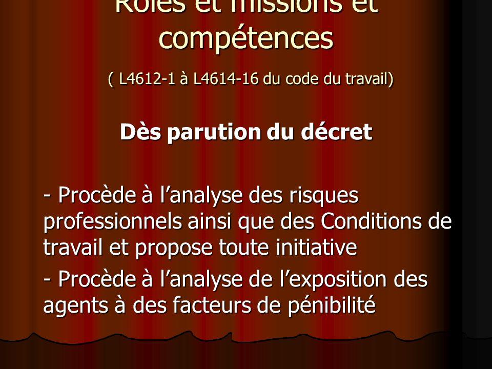 Rôles et missions et compétences ( L4612-1 à L4614-16 du code du travail) Dès parution du décret - Procède à lanalyse des risques professionnels ainsi