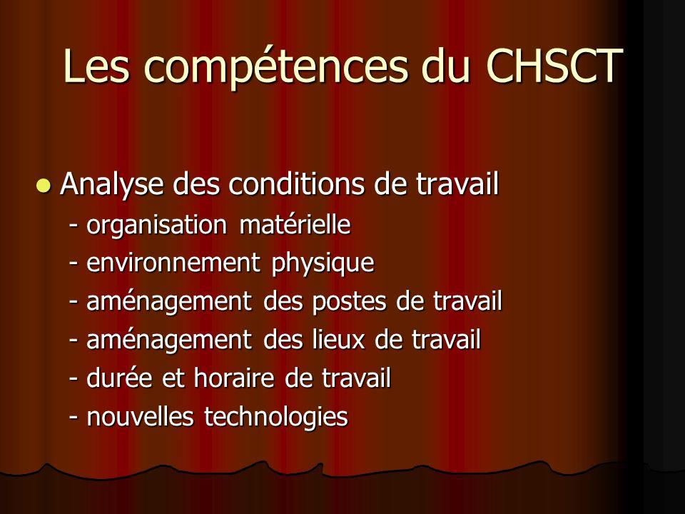 Les compétences du CHSCT Analyse des conditions de travail Analyse des conditions de travail - organisation matérielle - environnement physique - amén