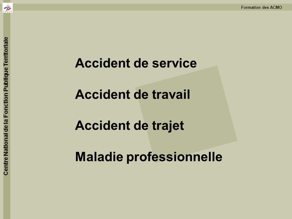 Formation des ACMO Centre National de la Fonction Publique Territoriale Accident de service Accident de travail Accident de trajet Maladie professionn