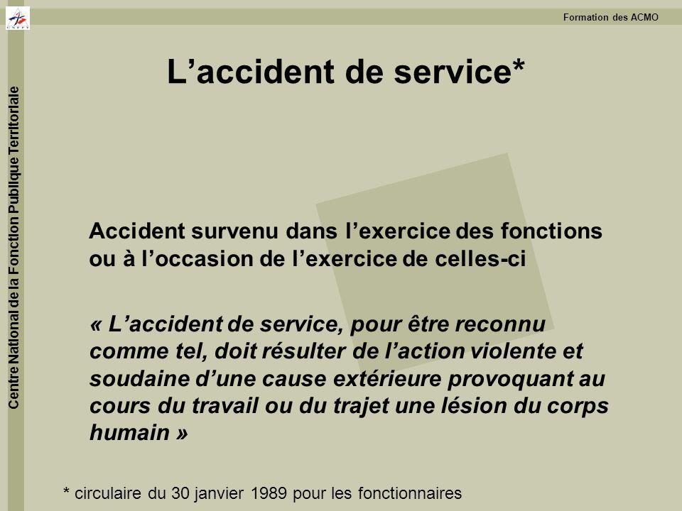 Formation des ACMO Centre National de la Fonction Publique Territoriale Laccident de service* Accident survenu dans lexercice des fonctions ou à locca