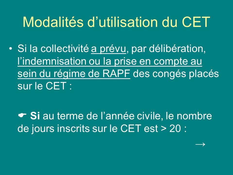 Modalités dutilisation du CET Si la collectivité a prévu, par délibération, lindemnisation ou la prise en compte au sein du régime de RAPF des congés
