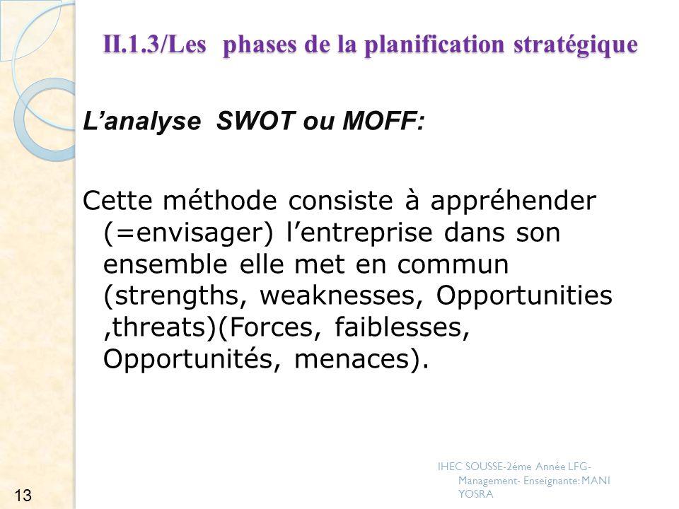II.1.3/Les phases de la planification stratégique Lanalyse SWOT ou MOFF: Cette méthode consiste à appréhender (=envisager) lentreprise dans son ensemb