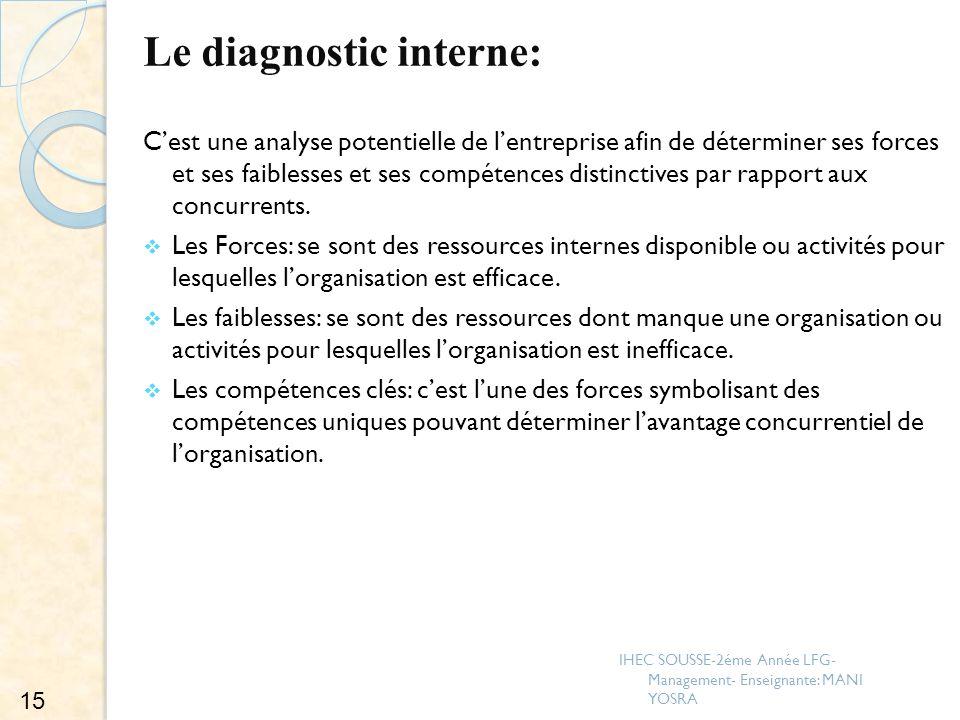 Le diagnostic interne: Cest une analyse potentielle de lentreprise afin de déterminer ses forces et ses faiblesses et ses compétences distinctives par